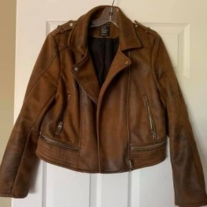 Distressed faux Suede/Leather Jacket